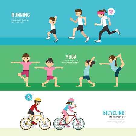 andando en bicicleta: Concepto de deportes de la salud de dise�o Serie de Ejercicios Vectores