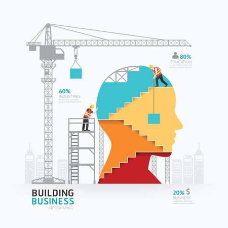 sites: Infographic business head shape template design.