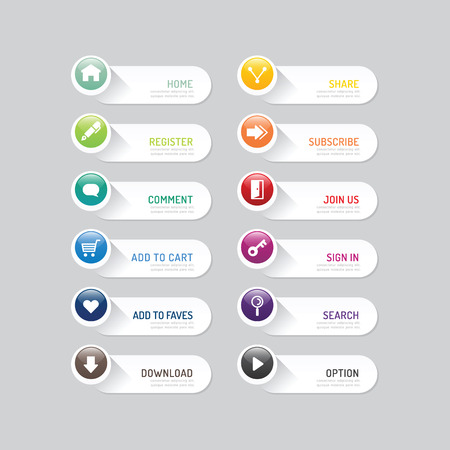 web icon set: Modern banner button with social icon design options.