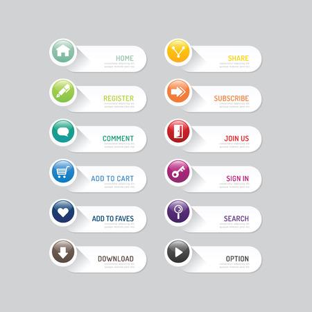 Moderne Banner Schaltfläche mit sozialen Icon Design-Optionen.