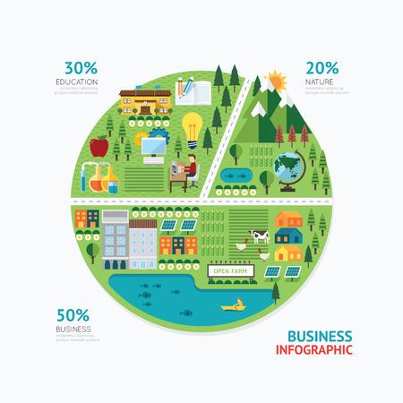 mapa conceptual: Diseño de plantilla de forma de gráfico de negocio Infografía. Vectores