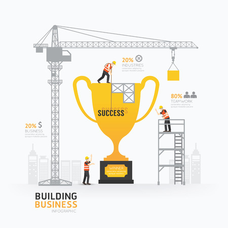 construction crane: Infographic business trophies shape template design. Illustration
