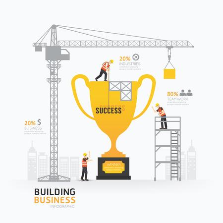 Infographic business trophies shape template design. Vectores