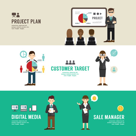 sales meeting: Business position design concept people set  Illustration