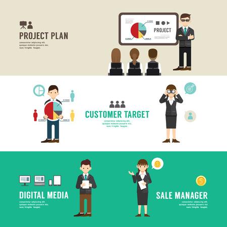 Business position design concept people set  Vettoriali