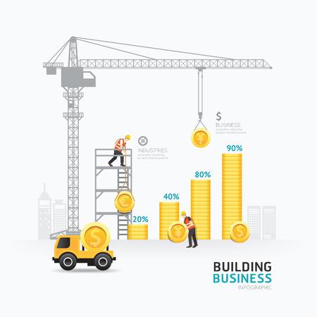 exito: Diseño del modelo del gráfico de dinero del negocio Infografía.