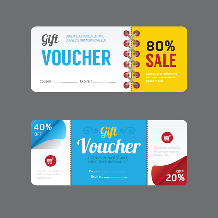 coupon: Vector gift voucher coupon template design. paper label frame modern pattern style. Illustration