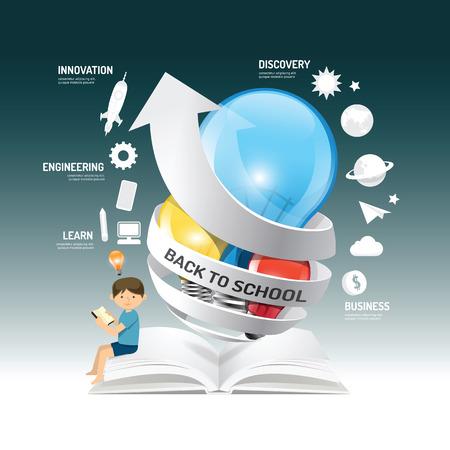 教育: 教育信息圖表創新理念上的燈泡帶箭頭的紙張矢量插圖。回到學校concept.can用於佈局,橫幅和網頁設計。