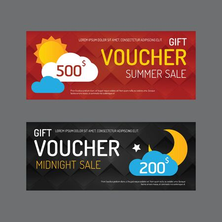 midnight: Vector gift voucher coupon template design. paper label frame modern pattern style. Illustration