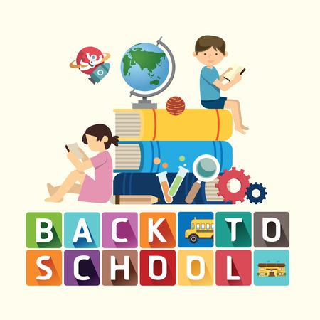 girotondo bambini: tornare a scuola idea formazione di disegno. Illustrazione vettoriale.