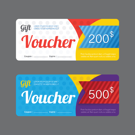 Vector gift voucher coupon template design. paper label frame modern pattern style. Ilustracja