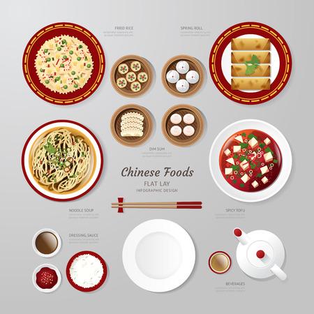 arroz chino: Infografía de China alimentos negocio idea aplanada. Ilustración vectorial inconformista concept.can ser utilizado para el diseño, la publicidad y el diseño web.