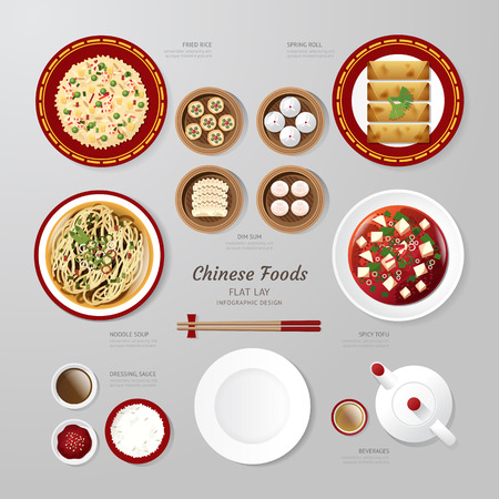fried: Infographic China foods business flat lay idea. Vector illustration hipster concept.can be used for layout, advertising and web design.