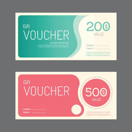bank check: Vector gift voucher coupon template design. paper label frame modern pattern style. Illustration