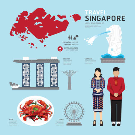 singapore culture: singapore Flat Icons Design Travel Concept.Vector