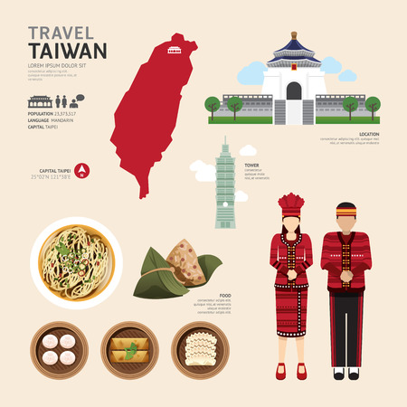 symbol tourism: Taiwan Flat Icons Design Travel Concept.Vector