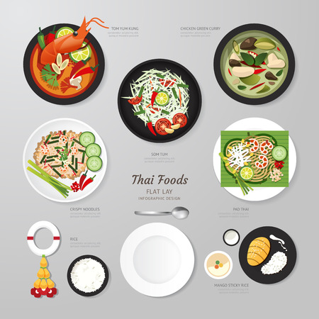 food illustration: Infographic Thai foods business flat lay idea. Vector illustration hipster concept.can be used for layout, advertising and web design.