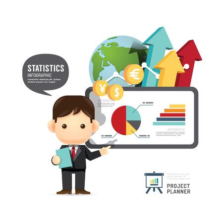 Business design conference man infographic presentation, training, success. vector illustration
