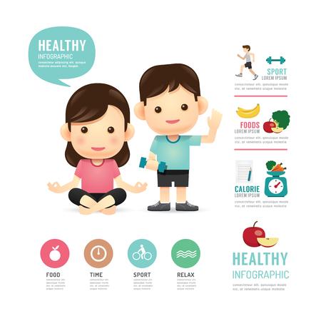 icono deportes: tiempo de la salud infografía diseño de los programas de alimentación y deporte gente, aprender concepto de ilustración vectorial Vectores