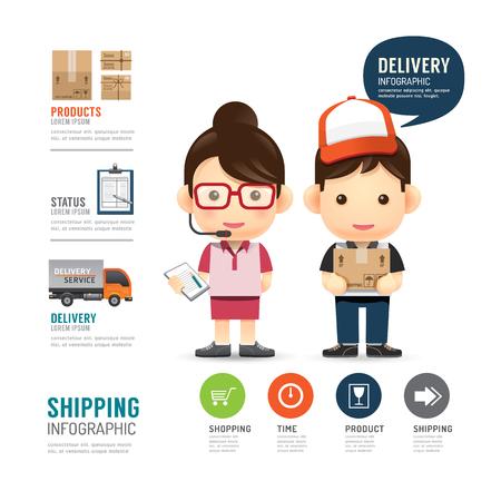verzending infographic met mensen delivery service design, werken baanconcept vector illustratie