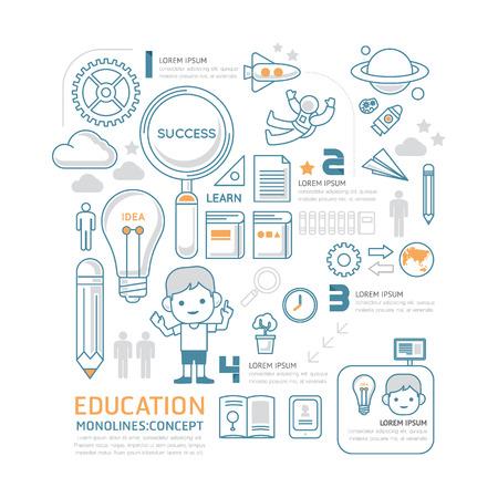 fila de personas: mono línea plana Ilustración Infografía Educación Popular concept.Vector.