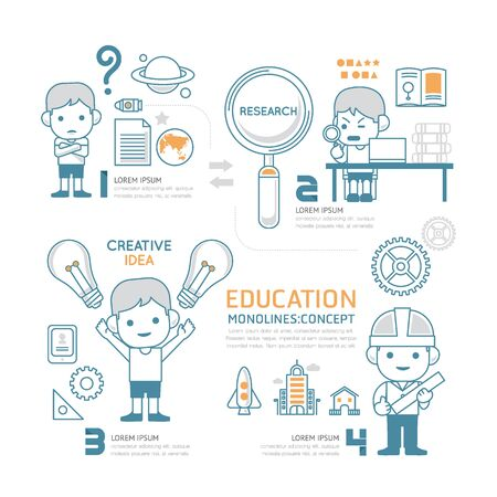 people in line: Flat mono line Infographic Education People work job concept.Vector Illustration.