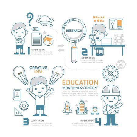 fila de personas: Infografía de línea mono plana Educación Personas de trabajo de ilustración concept.Vector trabajo.