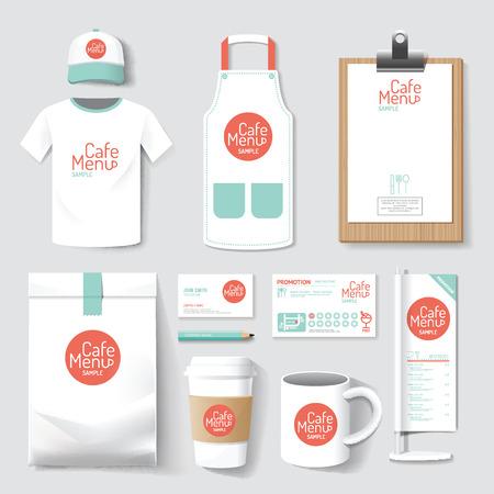 menú del restaurante del café conjunto, paquete, camiseta, gorra, conjunto de diseño de diseño de la identidad corporativa uniforme maqueta plantilla. Ilustración de vector