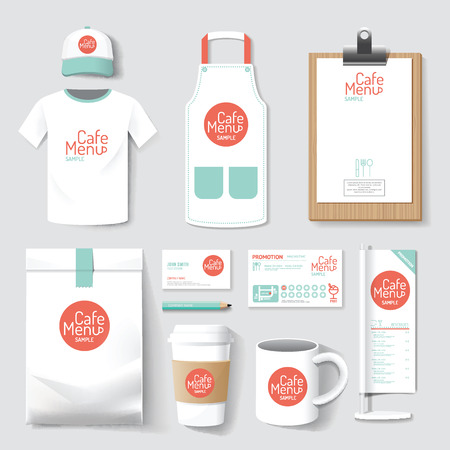 restaurant cafe set menu, package, t-shirt, cap, uniform design layout set of corporate identity mock up template. Ilustrace