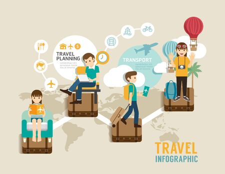 sentarse: tablero de juego Viaje línea plana Iconos del concepto de información paso a la ilustración gráfica de viajes mundial