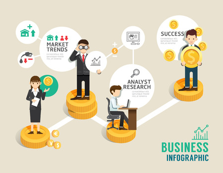 linea piatta Affari mercato azionario gioco da tavolo icone concetto passo infografica di successo, illustrazione