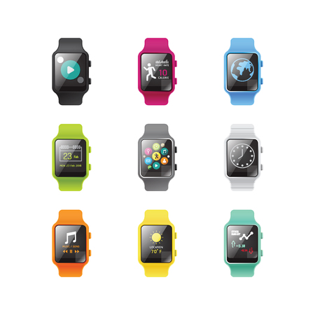 wristbands: Smart watch isolated with icons full color concept.