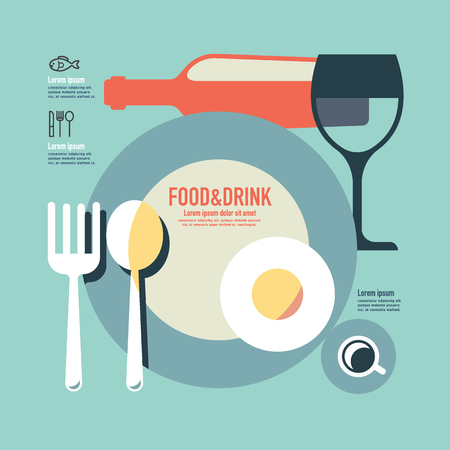 retro color: foods and drink template modern minimal flat design  vintage retro color style Illustration