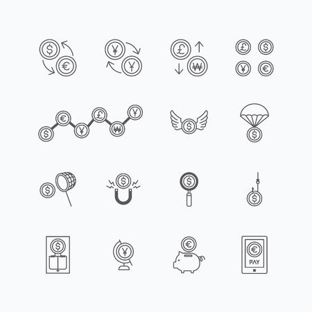 conjunto: iconos vectoriales Web lineal set - negocio de dinero en moneda concepto de moneda de colección de elementos de diseño de línea plana. Vectores