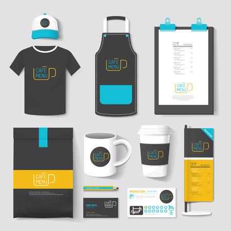 uniformes: Conjunto de diseño de identidad corporativa restaurante y cafetería uniforme. ilustración vectorial