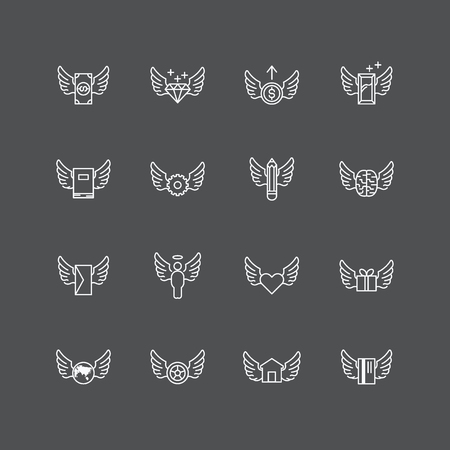 heart icon: vector linear web icons set - wing concept collection of flat line design elements. Illustration