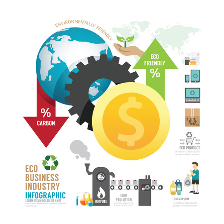 low energy: Infographic eco business industry concept with icons vector