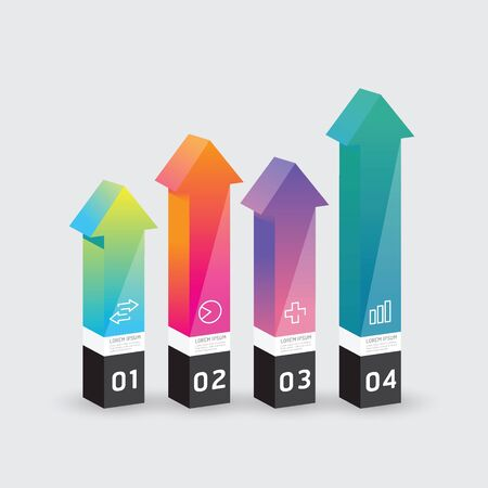 up arrow: Vector infographic template Modern arrow box Design Minimal style  can be used for infographics  numbered banners   graphic or website layout vector