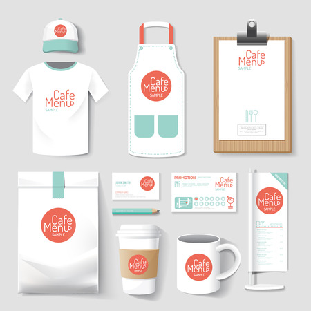 bakery products: Set of restaurant and coffee shop uniform corporate identity design. vector illustration Illustration