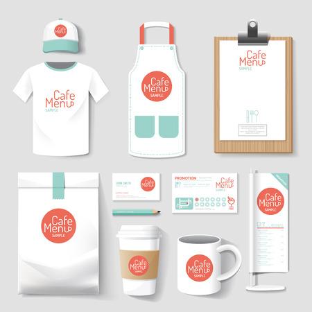 Set di ristorante e bar uniforme progettazione corporate identity. illustrazione vettoriale