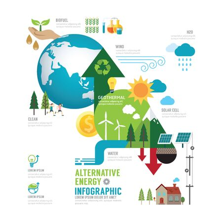 eco energy: Infographic eco energy of the world concept with icons vector