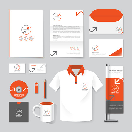 Vector brochure, tijdschrift, folder, t-shirt, cover booklet poster mockup design template layout briefpapier jaarverslag van A4-formaat set van corporate identity template. Stock Illustratie
