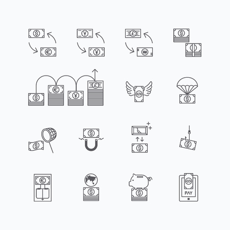 bill of exchange: linear web icons set - business money currency bill concept collection of flat line design elements. Illustration