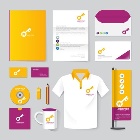 brochure, magazine, folder, t-shirt,cover booklet poster mock up design template layout stationery annual report A4 size set of corporate identity template.
