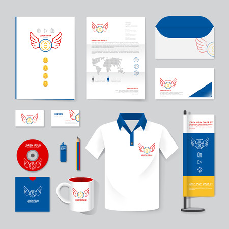 folders: brochure, magazine, folder, t-shirt,cover booklet poster mock up design template layout stationery annual report A4 size set of corporate identity template.
