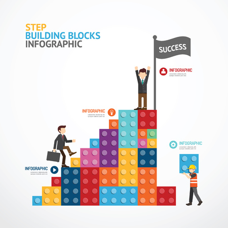 Infographic Template step building blocks . concept illustration Illustration