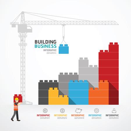Infografik-Vorlage mit Kran-Bausteinen. Konzept Illustration