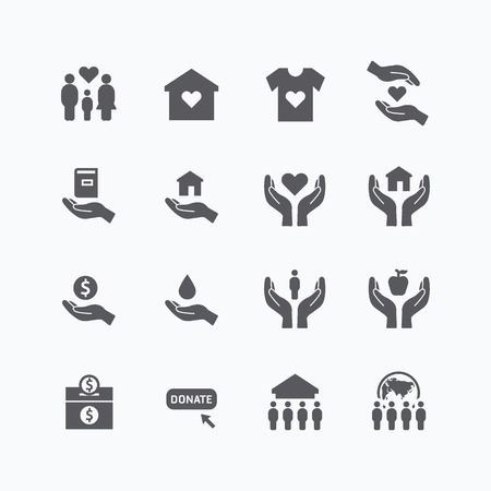 fundraiser: charity and donation silhouette icons flat line design