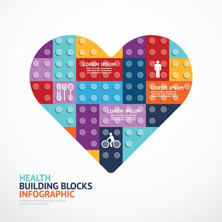Infografik-Vorlage mit Herzform-Bausteinen. Konzept Illustration
