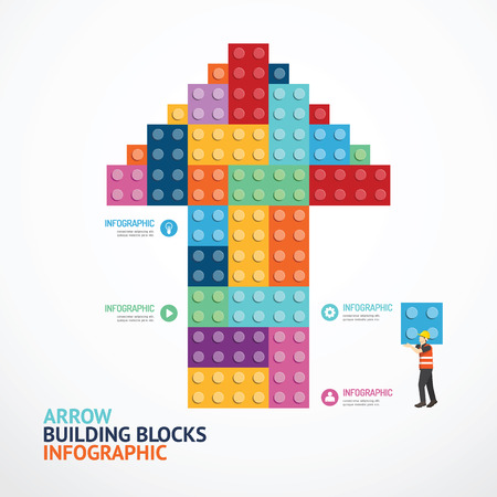 Infographic Template with arrow shape building blocks banner . concept illustration Çizim
